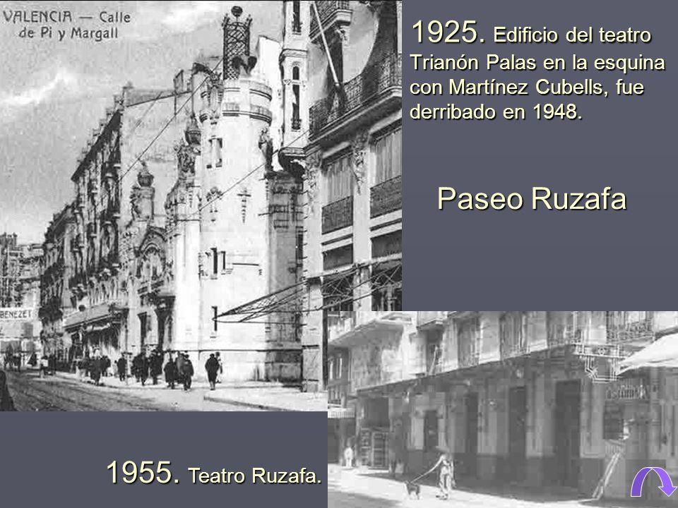 1925.Edificio del teatro Trianón Palas en la esquina con Martínez Cubells, fue derribado en 1948.