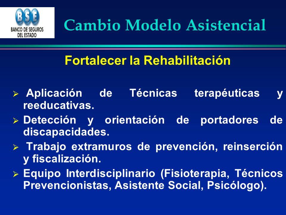 Cambio Modelo Asistencial Fortalecer la Rehabilitación Aplicación de Técnicas terapéuticas y reeducativas. Detección y orientación de portadores de di