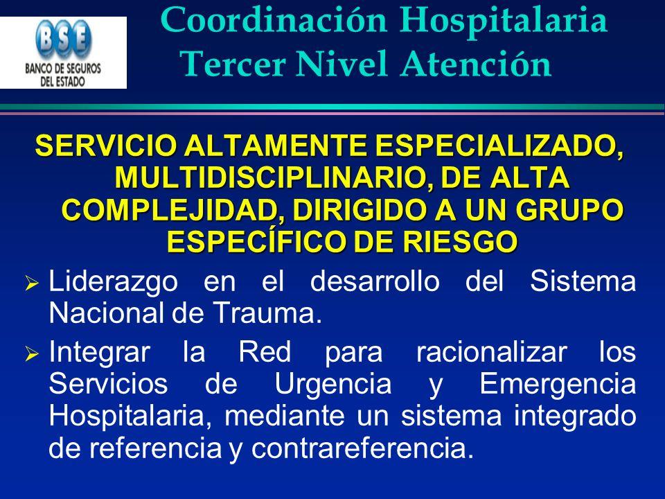 Coordinación Hospitalaria Tercer Nivel Atención SERVICIO ALTAMENTE ESPECIALIZADO, MULTIDISCIPLINARIO, DE ALTA COMPLEJIDAD, DIRIGIDO A UN GRUPO ESPECÍF