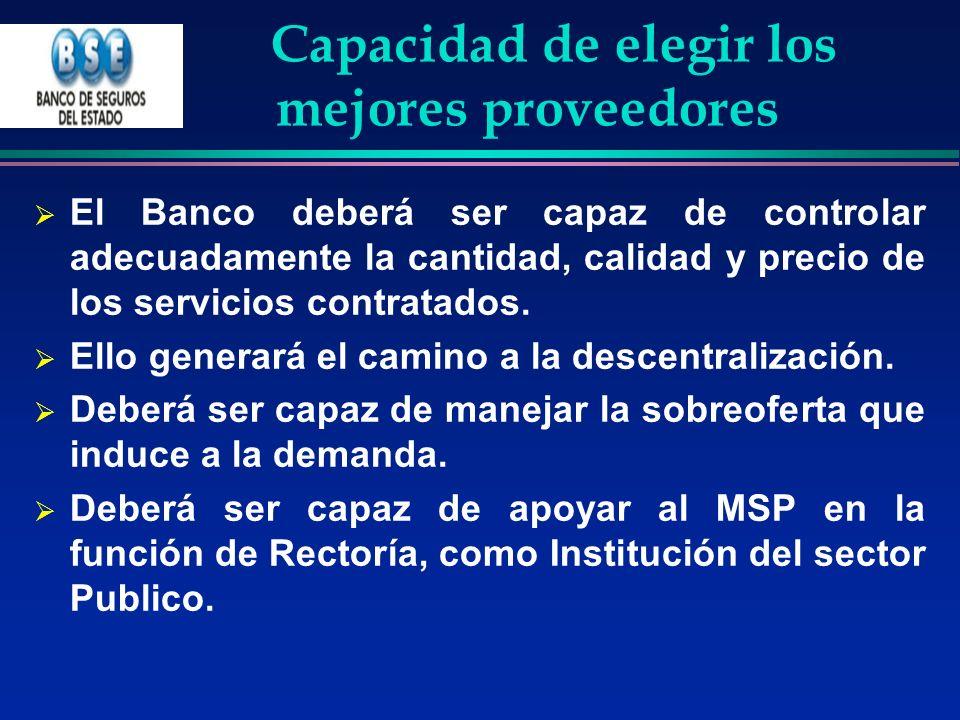 Capacidad de elegir los mejores proveedores El Banco deberá ser capaz de controlar adecuadamente la cantidad, calidad y precio de los servicios contra