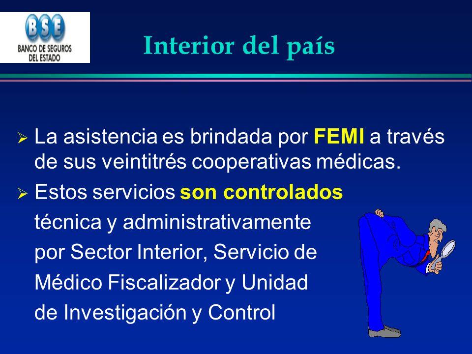 Interior del país La asistencia es brindada por FEMI a través de sus veintitrés cooperativas médicas. Estos servicios son controlados técnica y admini