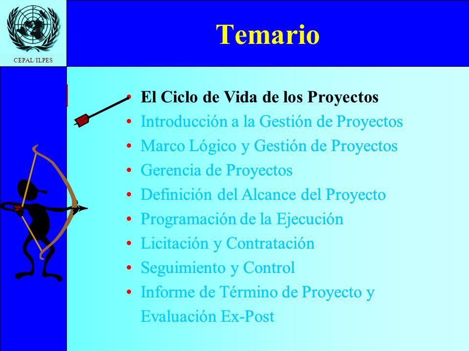 Ciclo de Vida Introducción a la gestión Marco Lógico y Gestión Gerencia de proyectos Definición del Proyecto Programación de la Ejecución Licitación y Contratación Seguimiento y Control Informe de Término Temario CEPAL/ILPES Fases y Etapas PreinversiónInversión Operación IdeaPerfil Prefacti- bilidad Factibilidad Diseño Ejecución Puesta en marcha Operación plena En el Ciclo de Vida de los Proyectos