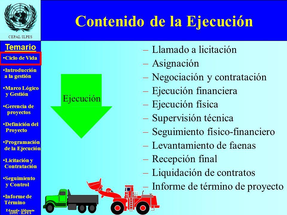 Ciclo de Vida Introducción a la gestión Marco Lógico y Gestión Gerencia de proyectos Definición del Proyecto Programación de la Ejecución Licitación y Contratación Seguimiento y Control Informe de Término Temario CEPAL/ILPES Tareas en la Fase de Inversión Constituir el equipo Preparar términos de referencia Preparar el programa de trabajo Organizarse para la ejecución Preparar documentación Definir modo de ejecución Documentar alcances y diseño Análisis de riesgos Definir sistema de seguimien- to y control Preparar bases Licitación y contratación Ejecución Estudio de ofertas y asignación Negociación y contratación Llamado a propuesta Recepción y apertura Recepción final Informe de término de proyecto Liquidación contrato Supervisión, seguimiento y control Adaptado a partir de esquema del CII