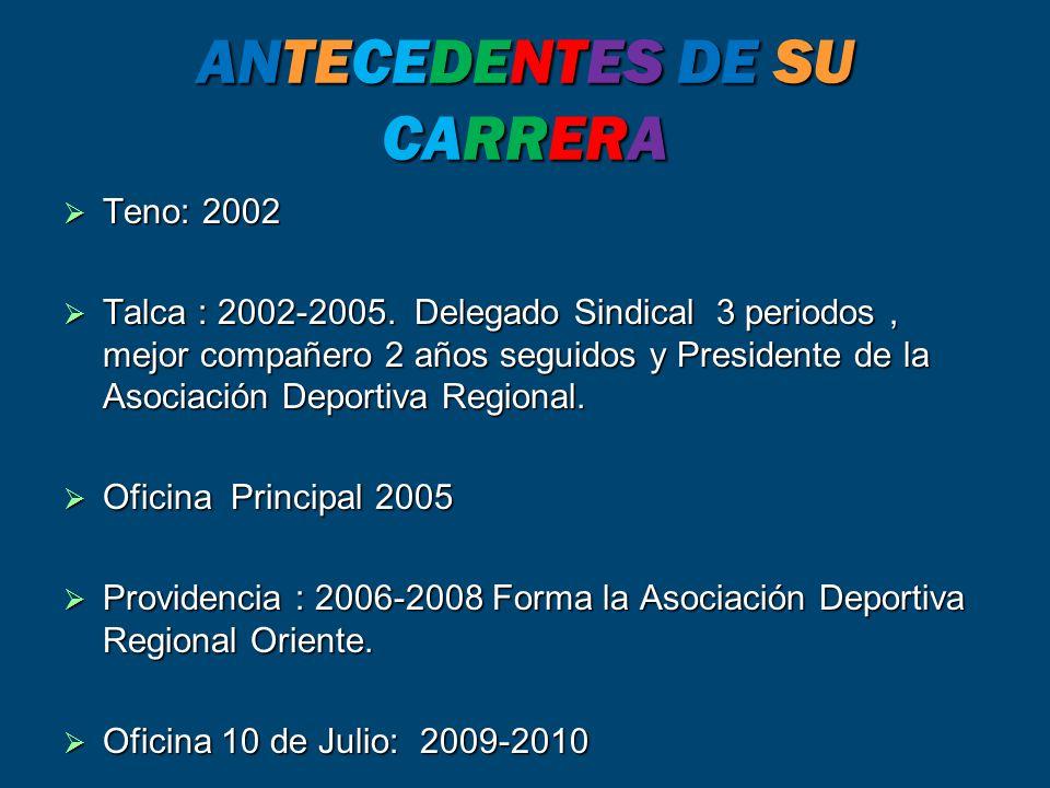 ANTECEDENTES DE SU CARRERA Teno: 2002 Teno: 2002 Talca : 2002-2005.