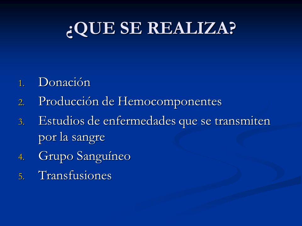 ¿QUE SE REALIZA? 1. Donación 2. Producción de Hemocomponentes 3. Estudios de enfermedades que se transmiten por la sangre 4. Grupo Sanguíneo 5. Transf