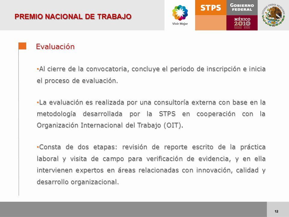 12 12 Evaluación Al cierre de la convocatoria, concluye el periodo de inscripción e inicia el proceso de evaluación. Al cierre de la convocatoria, con