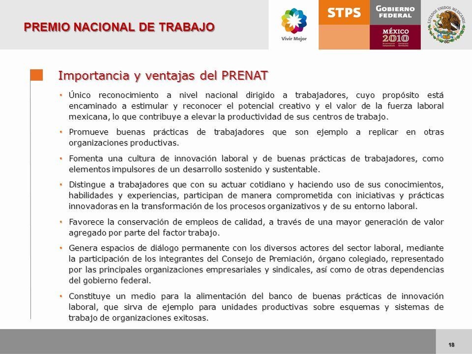 18 18 Importancia y ventajas del PRENAT Único reconocimiento a nivel nacional dirigido a trabajadores, cuyo propósito está encaminado a estimular y re
