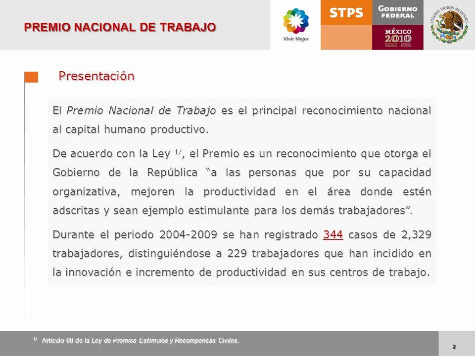 2 2 PREMIO NACIONAL DE TRABAJO Presentación El Premio Nacional de Trabajo es el principal reconocimiento nacional al capital humano productivo. De acu