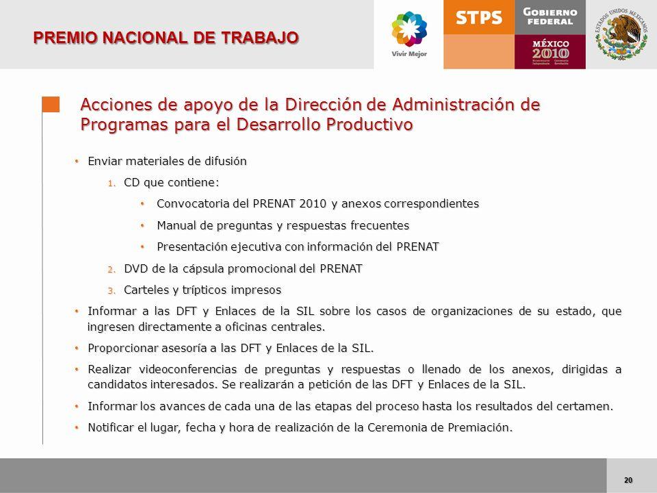20 20 Acciones de apoyo de la Dirección de Administración de Programas para el Desarrollo Productivo Enviar materiales de difusión Enviar materiales d
