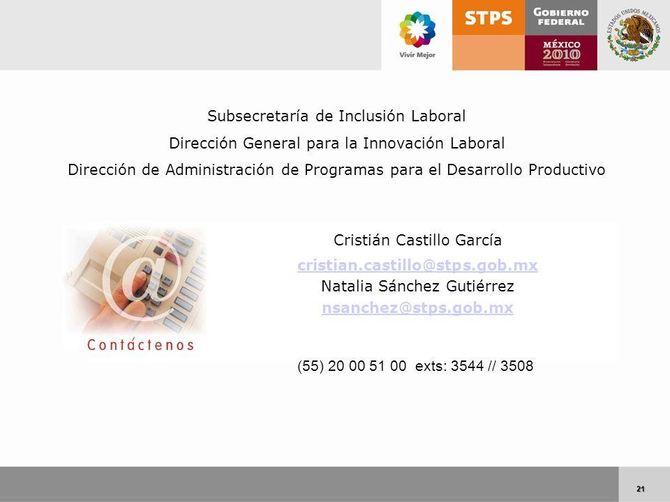 21 21 Cristián Castillo García cristian.castillo@stps.gob.mx Natalia Sánchez Gutiérrez nsanchez@stps.gob.mx (55) 20 00 51 00 exts: 3544 // 3508 Subsec