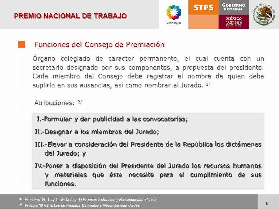 6 6 Funciones del Consejo de Premiación I.-Formular y dar publicidad a las convocatorias; I.-Formular y dar publicidad a las convocatorias; II.-Design