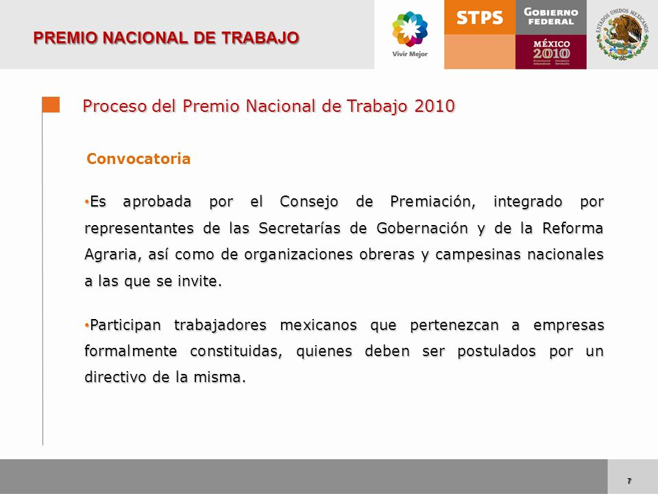 7 7 Proceso del Premio Nacional de Trabajo 2010 Convocatoria Es aprobada por el Consejo de Premiación, integrado por representantes de las Secretarías