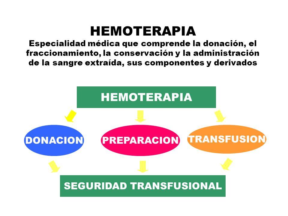 HEMOTERAPIA Especialidad médica que comprende la donación, el fraccionamiento, la conservación y la administración de la sangre extraída, sus componentes y derivados HEMOTERAPIA SEGURIDAD TRANSFUSIONAL DONACIONPREPARACION TRANSFUSION