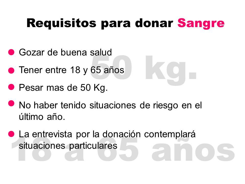 50 kg. Requisitos para donar Sangre 18 a 65 años Gozar de buena salud Tener entre 18 y 65 años Pesar mas de 50 Kg. No haber tenido situaciones de ries