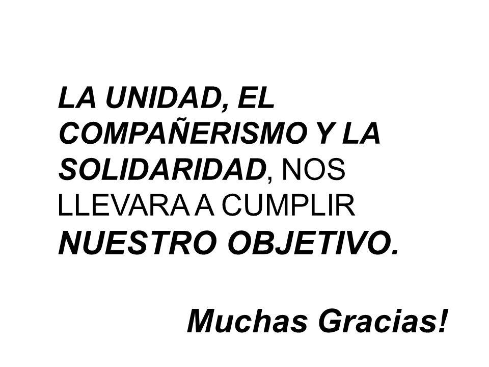LA UNIDAD, EL COMPAÑERISMO Y LA SOLIDARIDAD, NOS LLEVARA A CUMPLIR NUESTRO OBJETIVO. Muchas Gracias!