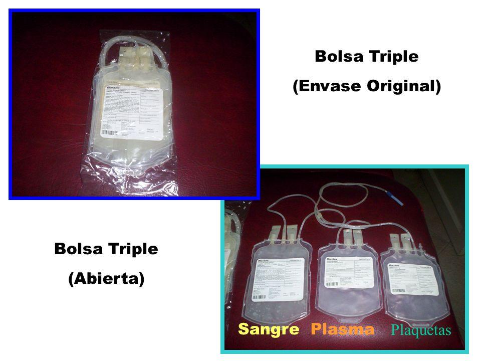 Bolsa Triple (Envase Original) Bolsa Triple (Abierta) SangrePlasma Plaquetas