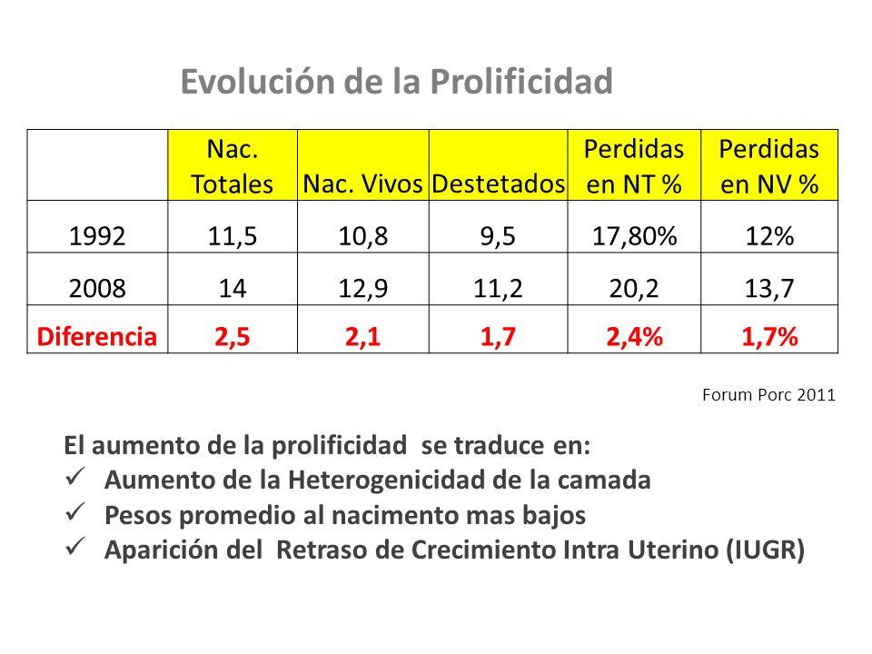 Nac. TotalesNac. VivosDestetados Perdidas en NT % Perdidas en NV % 199211,510,89,517,80%12% 20081412,911,220,213,7 Diferencia2,52,11,72,4%1,7% Forum P