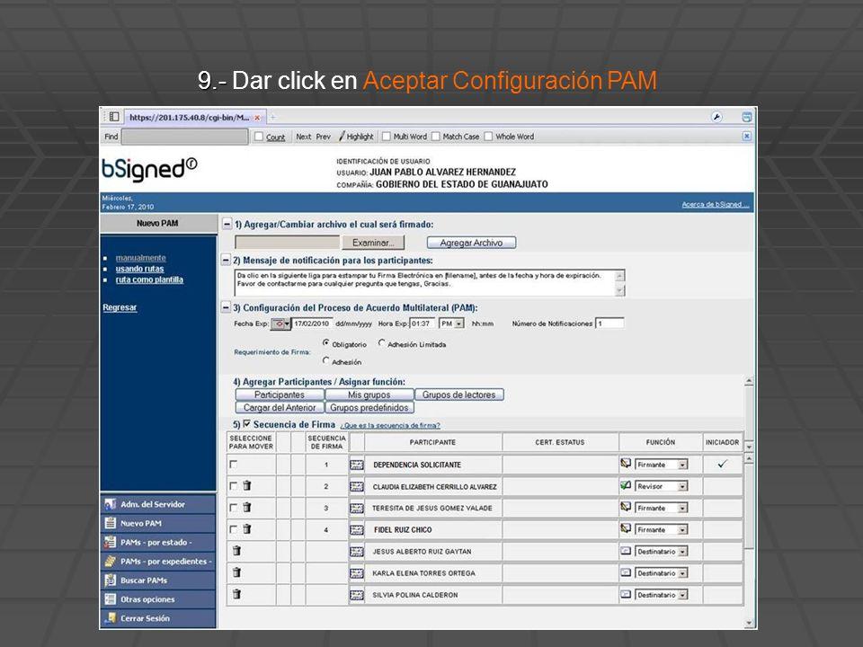 9.- 9.- Dar click en Aceptar Configuración PAM