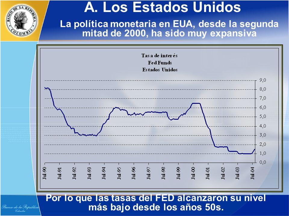 A. Los Estados Unidos La política monetaria en EUA, desde la segunda mitad de 2000, ha sido muy expansiva Por lo que las tasas del FED alcanzaron su n
