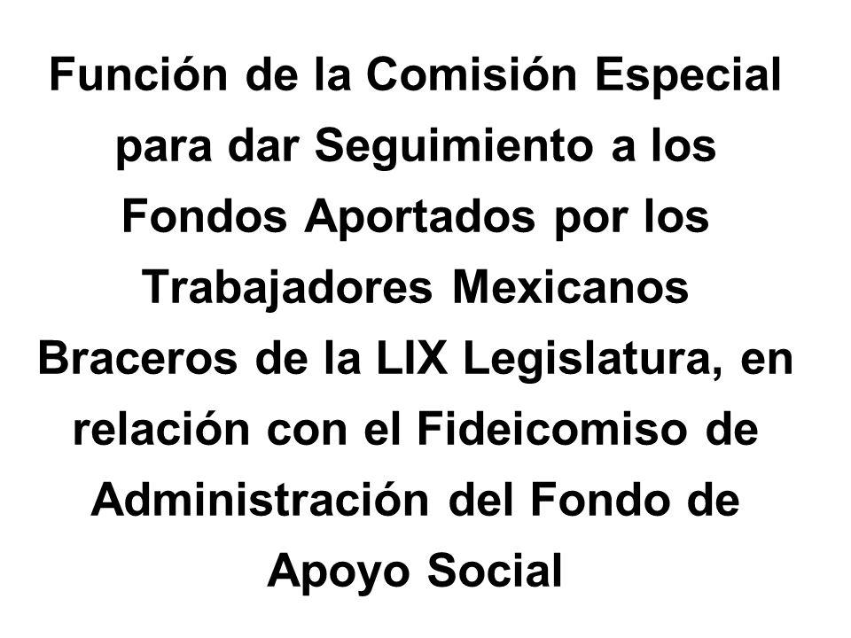 Función de la Comisión Especial para dar Seguimiento a los Fondos Aportados por los Trabajadores Mexicanos Braceros de la LIX Legislatura, en relación