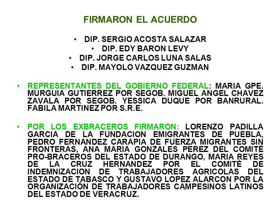 FIRMARON EL ACUERDO DIP. SERGIO ACOSTA SALAZAR DIP. EDY BARON LEVY DIP. JORGE CARLOS LUNA SALAS DIP. MAYOLO VAZQUEZ GUZMAN REPRESENTANTES DEL GOBIERNO