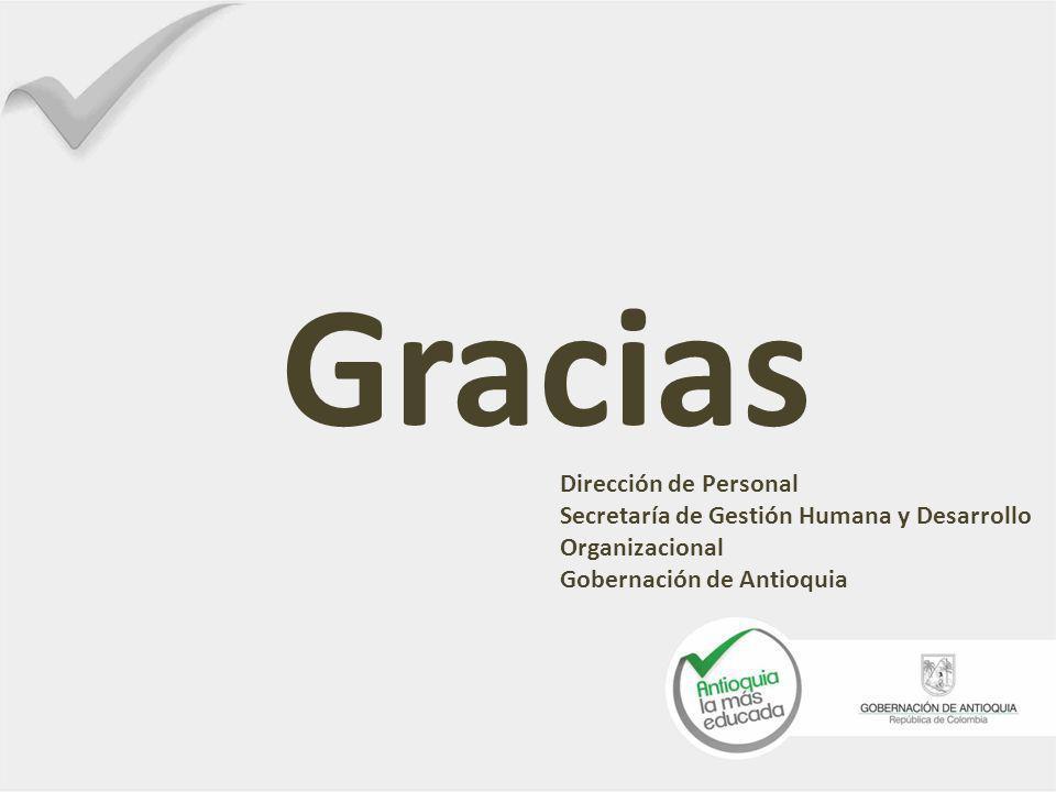 Gracias Dirección de Personal Secretaría de Gestión Humana y Desarrollo Organizacional Gobernación de Antioquia