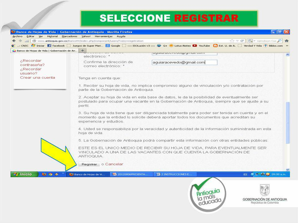 SELECCIONE REGISTRAR
