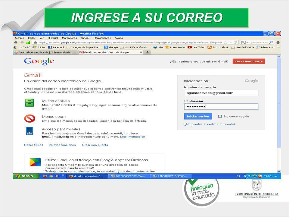 INGRESE A SU CORREO