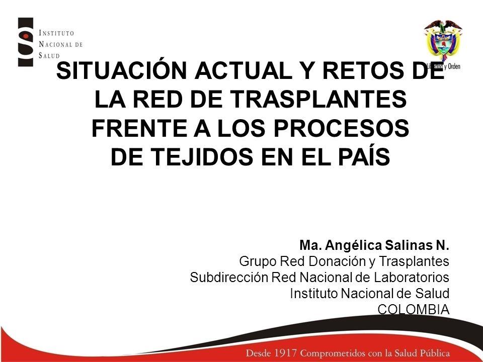 Ma. Angélica Salinas N. Grupo Red Donación y Trasplantes Subdirección Red Nacional de Laboratorios Instituto Nacional de Salud COLOMBIA SITUACIÓN ACTU