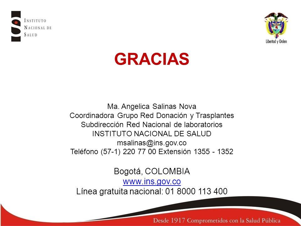 GRACIAS Ma. Angelica Salinas Nova Coordinadora Grupo Red Donación y Trasplantes Subdirección Red Nacional de laboratorios INSTITUTO NACIONAL DE SALUD