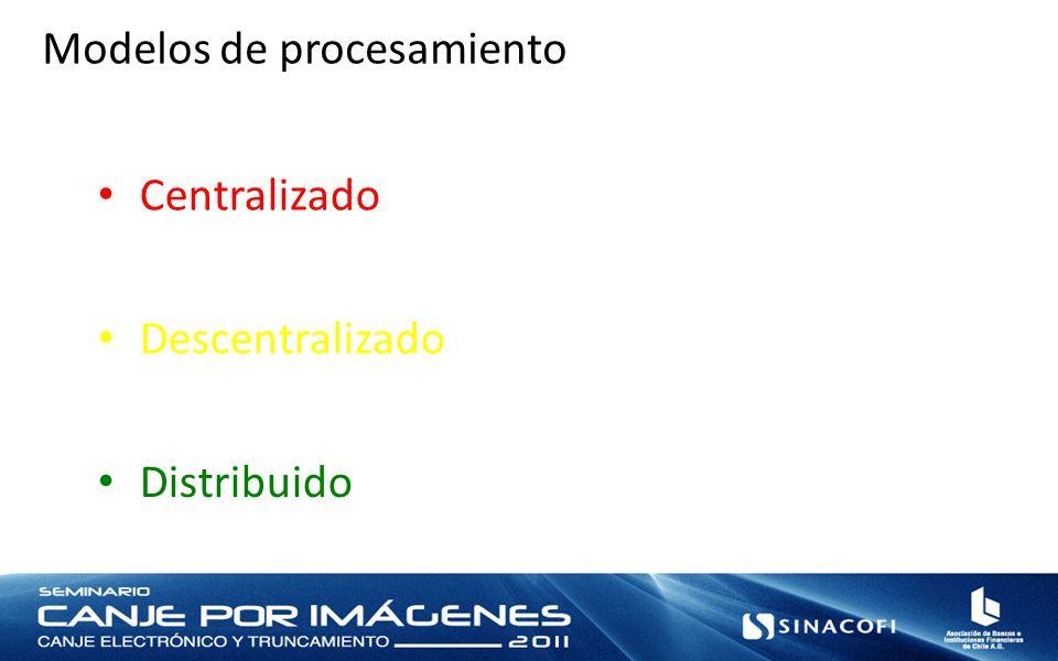 Modelos de procesamiento Centralizado Descentralizado Distribuido