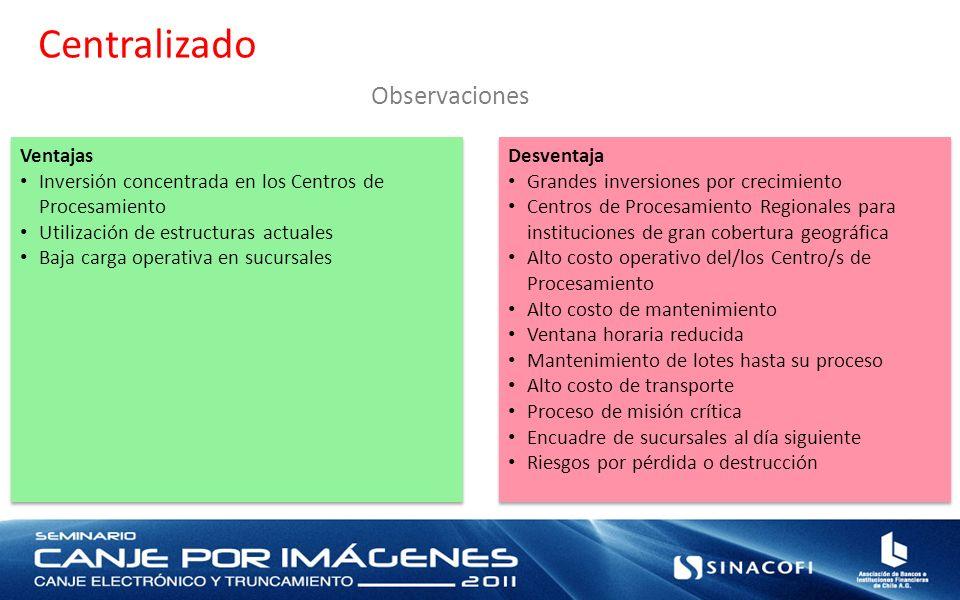 Centralizado Observaciones Ventajas Inversión concentrada en los Centros de Procesamiento Utilización de estructuras actuales Baja carga operativa en