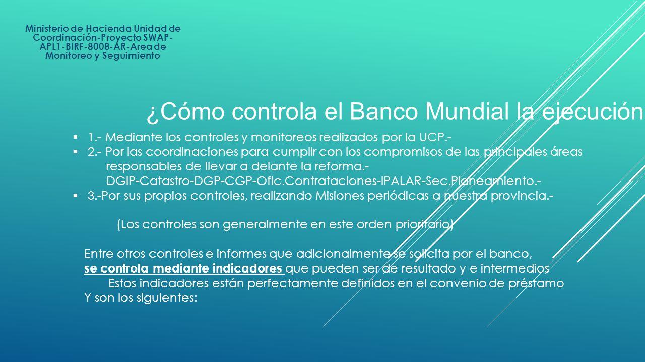 Ministerio de Hacienda Unidad de Coordinación-Proyecto SWAP- APL1-BIRF-8008-AR-Area de Monitoreo y Seguimiento Entre otros controles e informes que ad