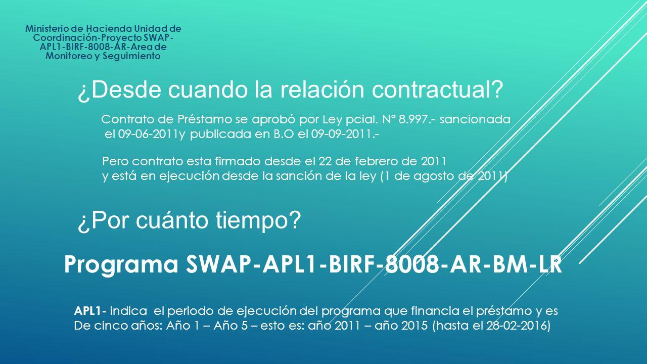Ministerio de Hacienda Unidad de Coordinación-Proyecto SWAP- APL1-BIRF-8008-AR-Area de Monitoreo y Seguimiento ¿Desde cuando la relación contractual?