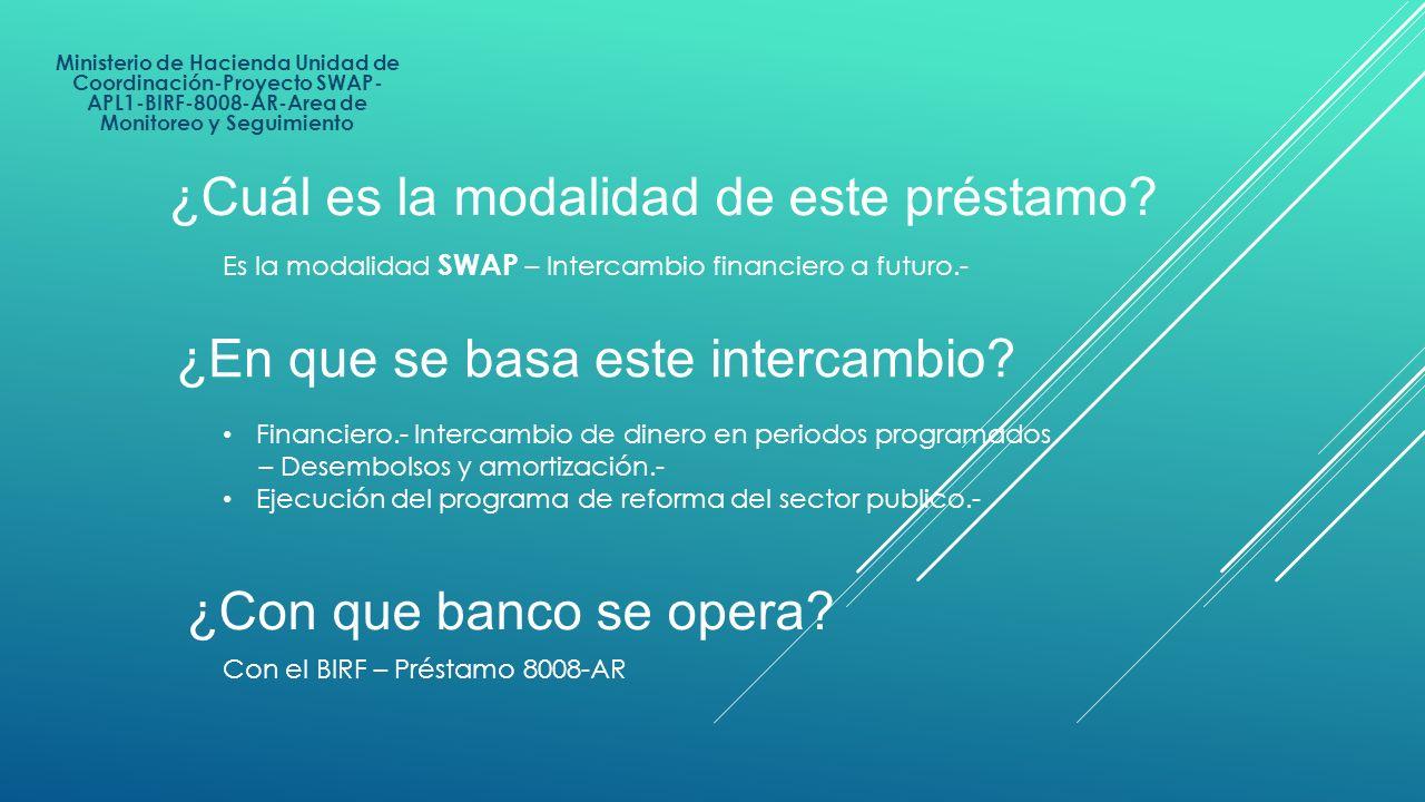 Ministerio de Hacienda Unidad de Coordinación-Proyecto SWAP- APL1-BIRF-8008-AR-Area de Monitoreo y Seguimiento ¿Cuál es la modalidad de este préstamo?