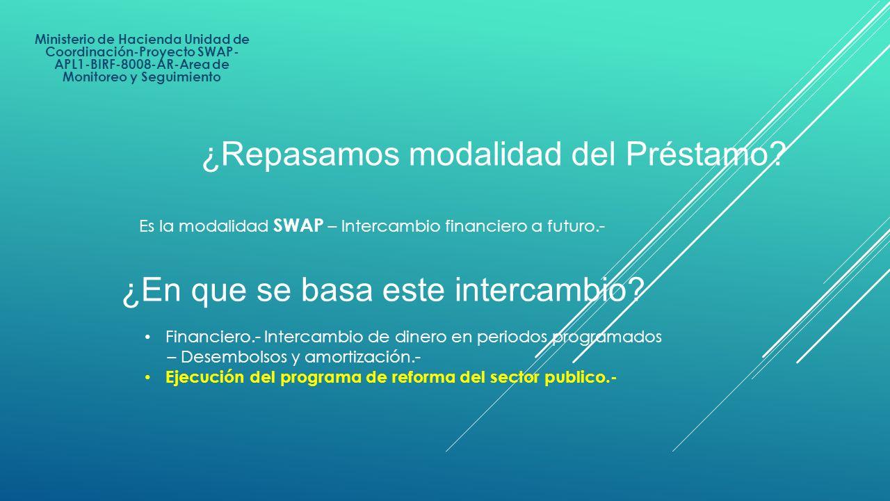 Ministerio de Hacienda Unidad de Coordinación-Proyecto SWAP- APL1-BIRF-8008-AR-Area de Monitoreo y Seguimiento Es la modalidad SWAP – Intercambio fina