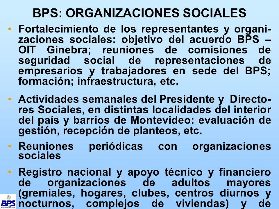 27 BPS: ORGANIZACIONES SOCIALES Fortalecimiento de los representantes y organi- zaciones sociales: objetivo del acuerdo BPS – OIT Ginebra; reuniones de comisiones de seguridad social de representaciones de empresarios y trabajadores en sede del BPS; formación; infraestructura, etc.