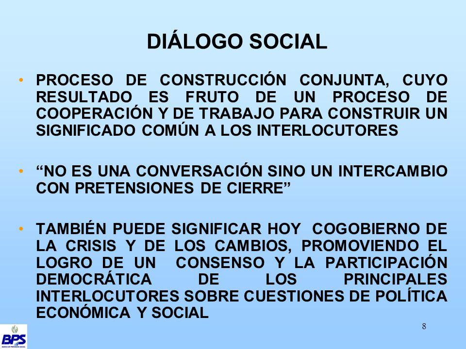 8 DIÁLOGO SOCIAL PROCESO DE CONSTRUCCIÓN CONJUNTA, CUYO RESULTADO ES FRUTO DE UN PROCESO DE COOPERACIÓN Y DE TRABAJO PARA CONSTRUIR UN SIGNIFICADO COMÚN A LOS INTERLOCUTORES NO ES UNA CONVERSACIÓN SINO UN INTERCAMBIO CON PRETENSIONES DE CIERRE TAMBIÉN PUEDE SIGNIFICAR HOY COGOBIERNO DE LA CRISIS Y DE LOS CAMBIOS, PROMOVIENDO EL LOGRO DE UN CONSENSO Y LA PARTICIPACIÓN DEMOCRÁTICA DE LOS PRINCIPALES INTERLOCUTORES SOBRE CUESTIONES DE POLÍTICA ECONÓMICA Y SOCIAL