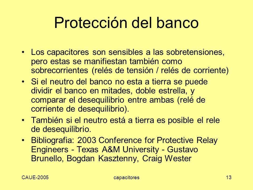 CAUE-2005capacitores13 Protección del banco Los capacitores son sensibles a las sobretensiones, pero estas se manifiestan también como sobrecorrientes