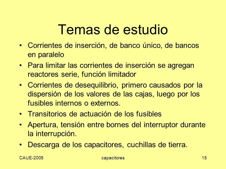 CAUE-2005capacitores15 Temas de estudio Corrientes de inserción, de banco único, de bancos en paralelo Para limitar las corrientes de inserción se agr