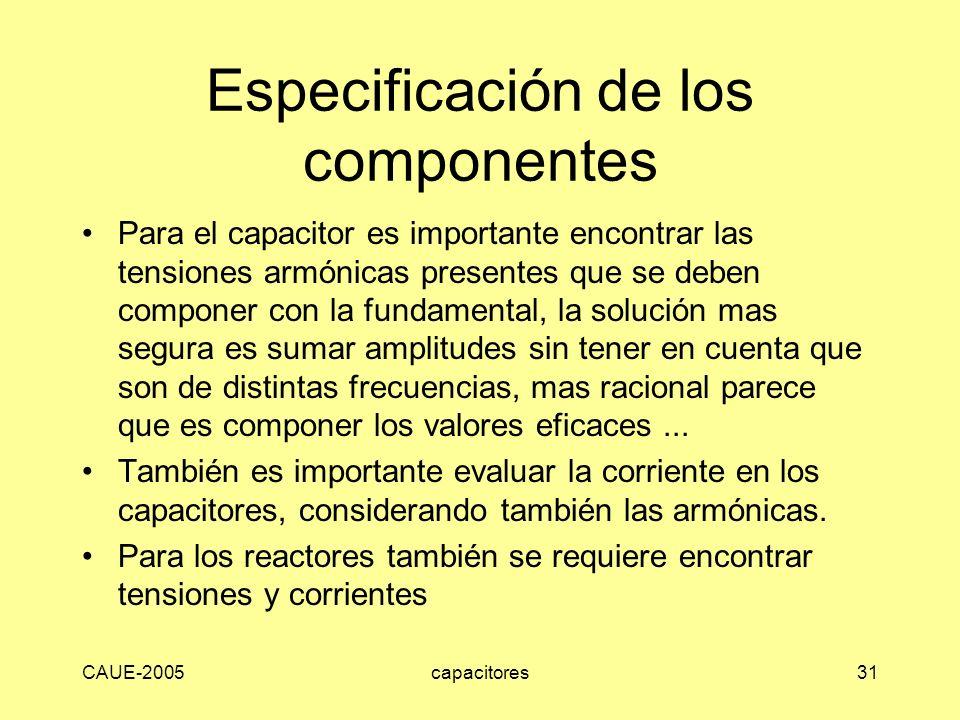 CAUE-2005capacitores31 Especificación de los componentes Para el capacitor es importante encontrar las tensiones armónicas presentes que se deben comp