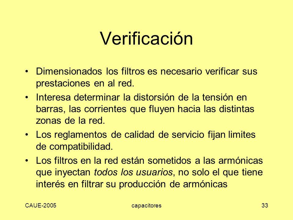 CAUE-2005capacitores33 Verificación Dimensionados los filtros es necesario verificar sus prestaciones en al red. Interesa determinar la distorsión de