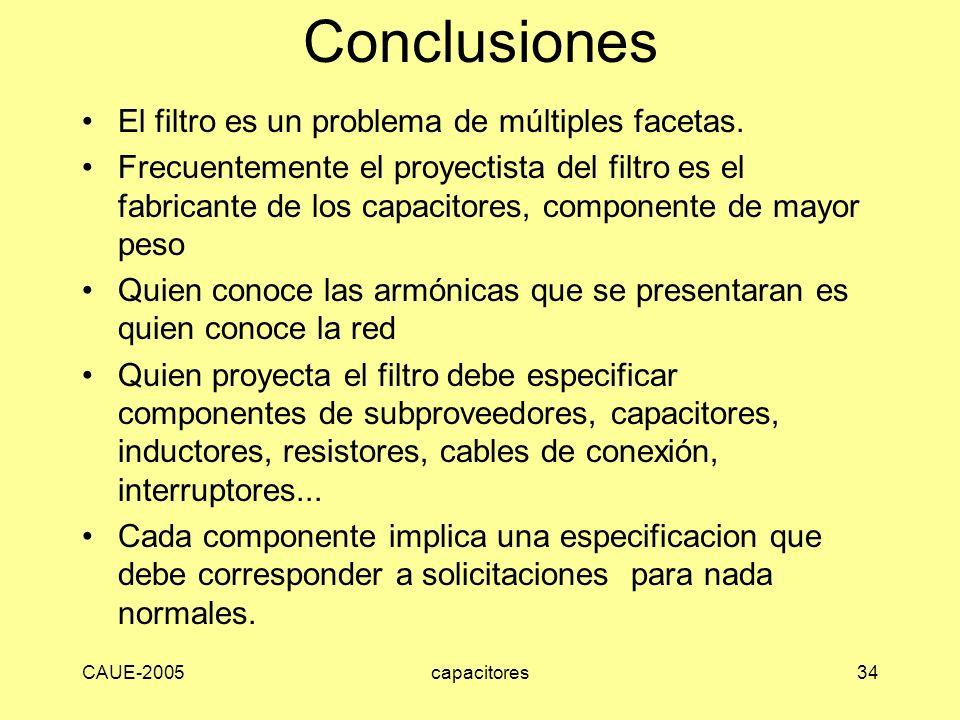CAUE-2005capacitores34 Conclusiones El filtro es un problema de múltiples facetas. Frecuentemente el proyectista del filtro es el fabricante de los ca