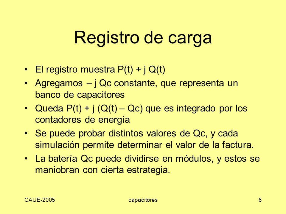 CAUE-2005capacitores6 Registro de carga El registro muestra P(t) + j Q(t) Agregamos – j Qc constante, que representa un banco de capacitores Queda P(t