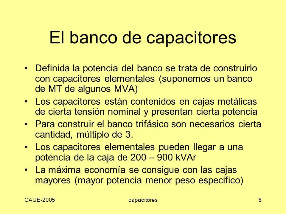 CAUE-2005capacitores8 El banco de capacitores Definida la potencia del banco se trata de construirlo con capacitores elementales (suponemos un banco d
