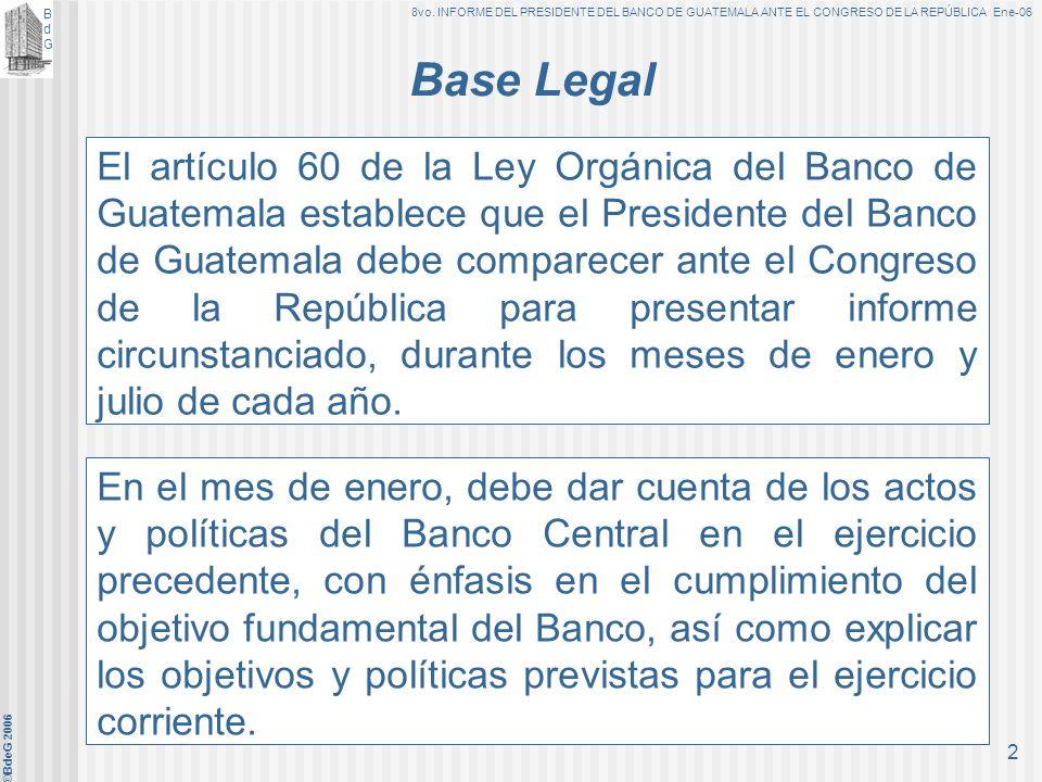 BANCO DE GUATEMALA ©BdeG 2006 1 INFORME DEL PRESIDENTE DEL BANCO DE GUATEMALA ANTE EL CONGRESO DE LA REPÚBLICA Guatemala, 25 de enero de 2006