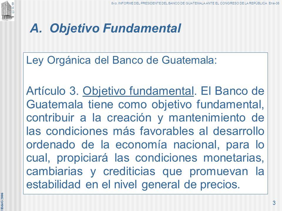 BdGBdG 8vo. INFORME DEL PRESIDENTE DEL BANCO DE GUATEMALA ANTE EL CONGRESO DE LA REPÚBLICA Ene-06 ©BdeG 2006 2 Base Legal El artículo 60 de la Ley Org
