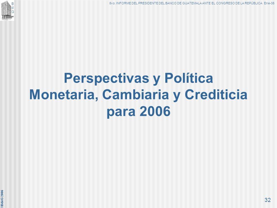 BdGBdG 8vo. INFORME DEL PRESIDENTE DEL BANCO DE GUATEMALA ANTE EL CONGRESO DE LA REPÚBLICA Ene-06 ©BdeG 2006 31 Fortalecimiento de la posición externa