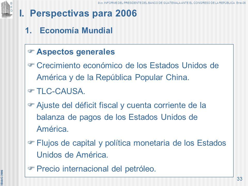 BdGBdG 8vo. INFORME DEL PRESIDENTE DEL BANCO DE GUATEMALA ANTE EL CONGRESO DE LA REPÚBLICA Ene-06 ©BdeG 2006 32 Perspectivas y Política Monetaria, Cam