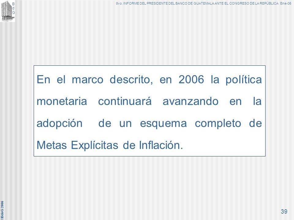BdGBdG 8vo. INFORME DEL PRESIDENTE DEL BANCO DE GUATEMALA ANTE EL CONGRESO DE LA REPÚBLICA Ene-06 ©BdeG 2006 38 Considerando contenido en Resolución J